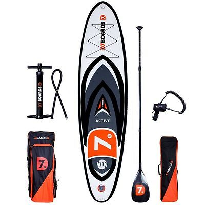 D7 Active 11.0 Surf iSUP Stand Up Paddling Board Set mit Carbon Paddel 2017