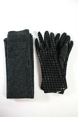 Lot 2 Pairs of Gloves: Lutz & Patmos Gray Wool, Alli Forino Black Silk One Size