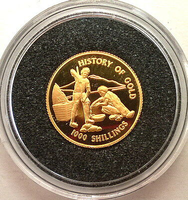 Tanzania 1998 History of Gold 1000 Shillings Gold Coin,Proof