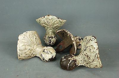 Set 4 Antique Victorian Iron Claw Ball Foot Bathtub Tub Feet Fleur de Lis 19th c