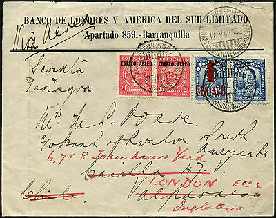 Colombia 1932 Barranquilla To Chile Cover #C40575