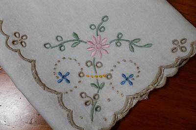 Pretty Vintage Beige Embroidered Napkins with Cutwork Detail x 4
