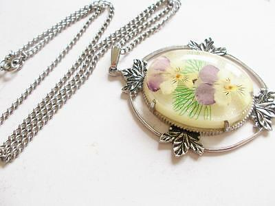 Vintage 1940's Big Confetti Lucite Pendant Set With Real Dried Pansy Flowers