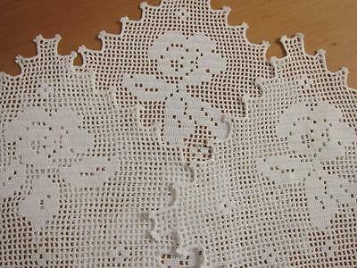 Set of 3 Vintage Doilies Filet Rose White Hand Crochet