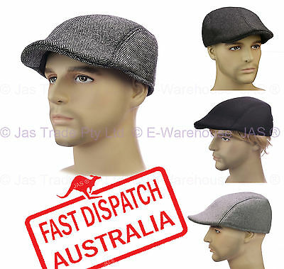 Men Baseball Cabbie Driving Ivy Golf Flat Newsboy Cap Sun Hat Tweed Felt L Xl