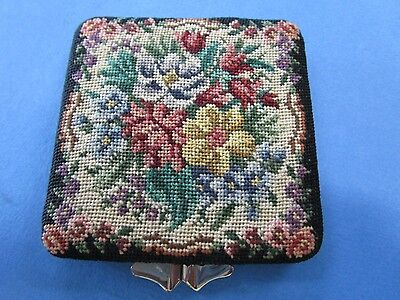 "Vintage Ladies Powder Compact with orignal Needlepoint design ""AUSTRIAN"""