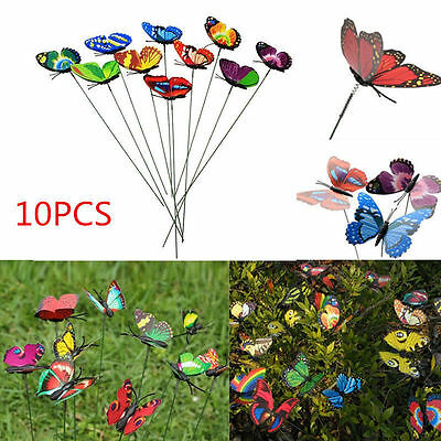 10X New Style Colorful Flowerpot Decor Garden Decoration Butterfly Ornaments UK
