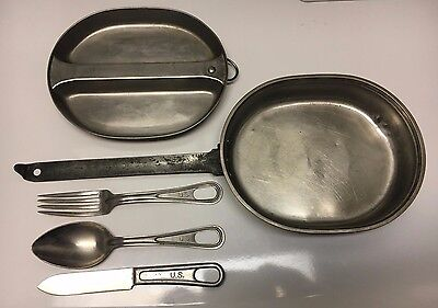 WW 2 U.S. Army MEAT CAN / Mess Kit, Complete With WWII Utensils,1944 Date