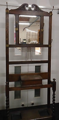 Antique Edwardian Style Solid Oak Dark Wood Coat / Hat / Umbrella Stand - BB3