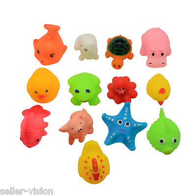 13 Mini Squeaky Bath Toys Animal/Ocean Water Play Fun Kids Toddler Floating