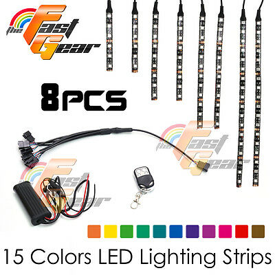 Motorclcyes LED Lighting LED Light Strip RGB x8 For Car Truck Lorry Boat