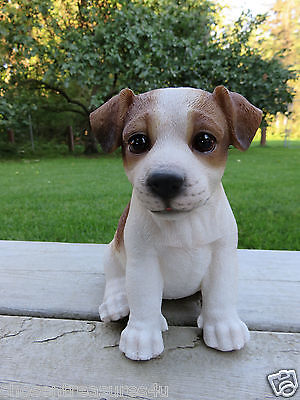 "Jack Russell Terrier Puppy Sitting Dog Figurine Statue Resin Pet 6.5"" H Ornament"