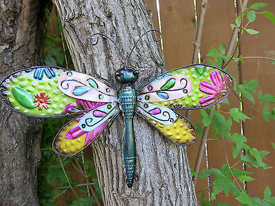 Metal Dragonfly Multi Color Fence/patio Art Outdoor Decor Yard New