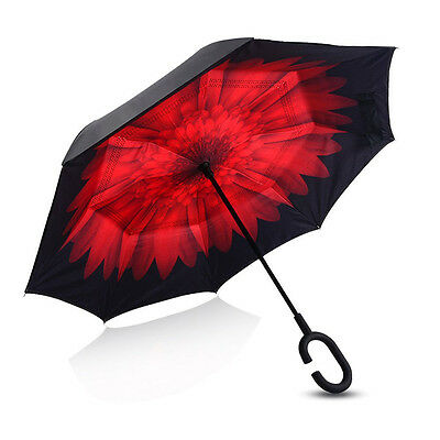 Modern Upside Down Reverse Umbrella C-Handle Double Layer Inside-Out Colors z