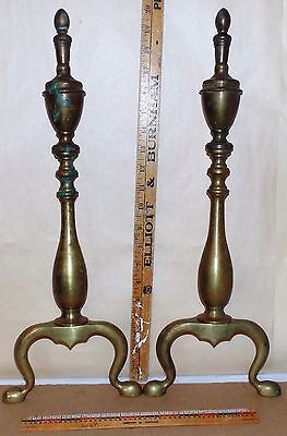 """Vintage Pair Brass COLONIAL Style Urn Top Fireplace Andirons 20"""" x 7½"""" - S5"""