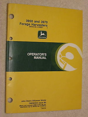 Original John Deere Jd 3950 & 3970 Forage Harvester Operator's Manual