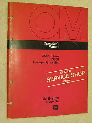 Original John Deere Jd 3800 Forage Harvester Operator's Manual
