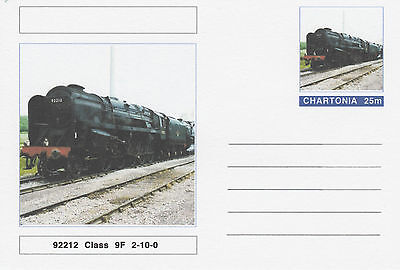 CINDERELLA - 3959 - CLASS 9F STEAM LOCOMOTIVE on Fantasy Postal Stationery card