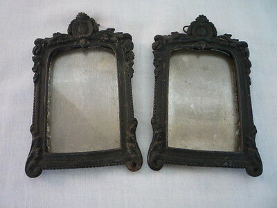 Pair Superb Ornate French Antique Bronze Picture Frames Garlands Flowers 19Th C