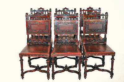 Attractive set of Six Antique French Renaissance Leather Dining Chairs, Walnut