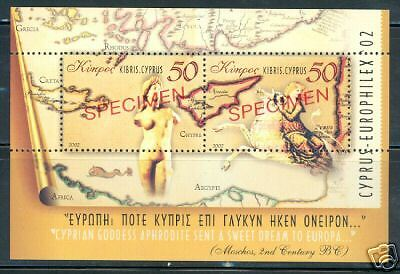 Cyprus Aphrodite S/s  Overprinted Specimen Mint Nh