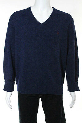 Polo Ralph Lauren Navy Blue Wool Mens V Neck Sweater Size Large
