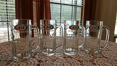 "4 A&W All American Food Root Beer glass Mugs 7"" tall HEAVY"