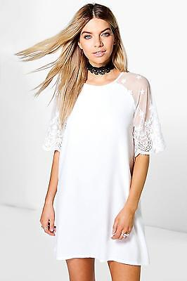 Boohoo Womens Karina Lace Sleeve Shift Dress