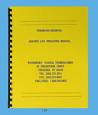 Thompson Hydraulic Surface Grinders Service and Op Manual B, BB, C, CD, CX  *110
