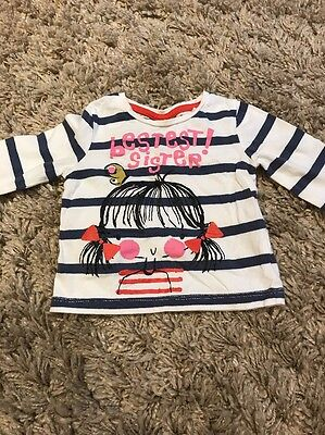 Used NEXT Baby Girls Long Sleeve Top 'Bestest Sister' 3-6 Months