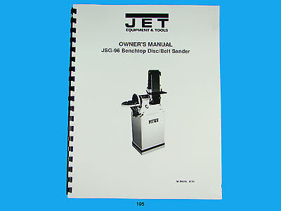 Jet   JSG-96 Benchtop Disc/Belt Sander Owners  Manual *195