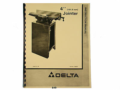 "Delta 4"" Jointer Model 37-290  Instruction and Parts List Manual  * 849"