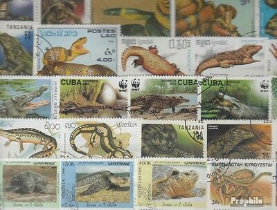 Thematics 200 different Reptiles and Amphibians stamps