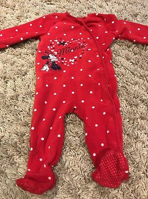 Used GEORGE DISNEY MINNIE MOUSE Baby Girls Sleepsuit 9-12 Months
