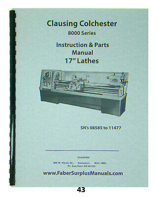 """Clausing 17"""" Lathe Series 8600  Service & Parts Manual *43"""