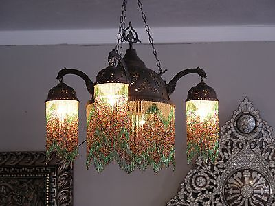 Syrian brass beaded and pierced chandelier lamp with 4 lights