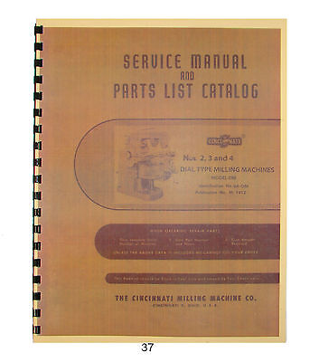 Cincinnati #2, #3, & #4 Model OM Dial Milling Machine Service Manual *37