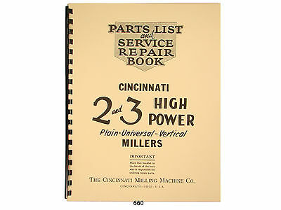 Cincinnati Nos 2 & 3 High Power Milling Machine  Parts List Manual *660