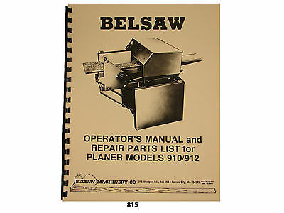 "Foley Belsaw 12"" Model 910 / 912 Planer/Molder Operators Manual Parts List  *815"