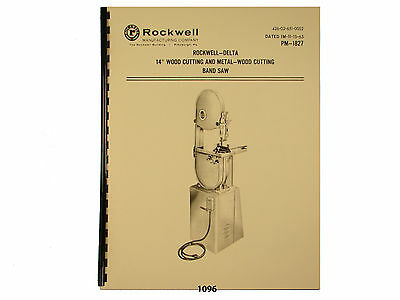 "Delta Rockwell 14"" Band Saw Wood & Metal Operating &  Parts List  Manual *1096"