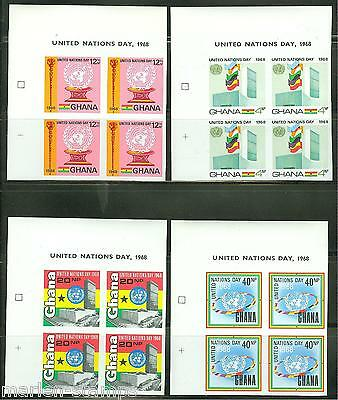 Ghana  Imperforated  Block Of Four United Nations   Scott#344/47  Mint Nh