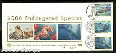 United Nations Endangered Species 2008 Official Silk Triple Cancel  Fd Cover
