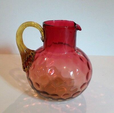 "ANTIQUE AMBERINA AMERICAN ART GLASS 5"" PITCHER ""INVERTED THUMPRINT"" c.1180-1890"