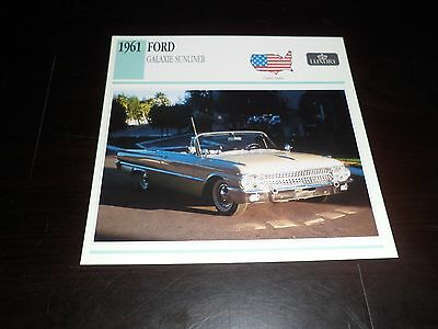 1961 FORD GALAXIE SUNLINER Car Photo Spec Sheet Stat Info CARD