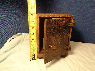 Antique Safe or Strong Box with Key  Sales Sample Cast Iron Shelf Size Man Cave