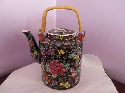Fabulous Vintage Chinese Porcelain Black Many Flowers Design Teapot 20 Cms Tall