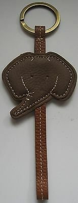 Elephant Key Fob Keychain Coldwater Creek Faux Brown Leather Brass Tone Ring