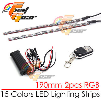 2 Pcs Cuttable 190mm RGB LED Color Light Strip Remote For Universal Suzuki