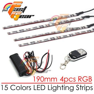 4 Pcs Cuttable 190mm RGB LED Color Light Strip Remote For Universal Car Truck