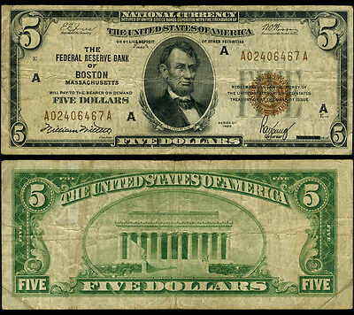 FR. 1850 A $5 1929 Federal Reserve Bank Note Boston Fine+
